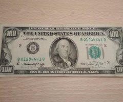 100 $ USD bill 1974 series – 1974 one hundred dollar note