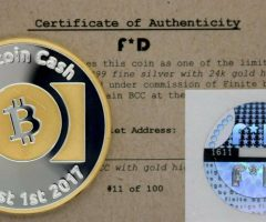 Bitcoin Cash Physical .999 Silver & 24 kt Gold Coin w COA & Hologram Cold Storage Wallet FINITE BY DESIGN